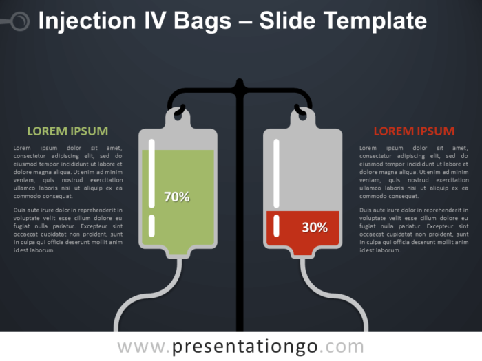 Free Injection IV Bags Infographics for PowerPoint