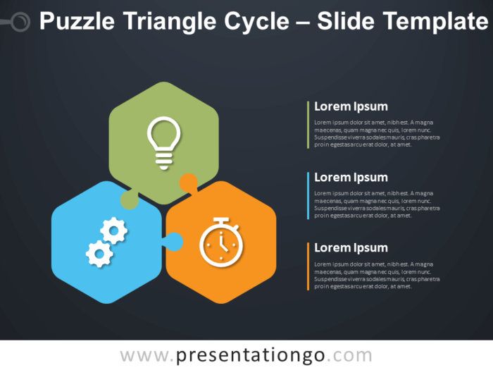 Free Puzzle Triangle Cycle Diagram for PowerPoint