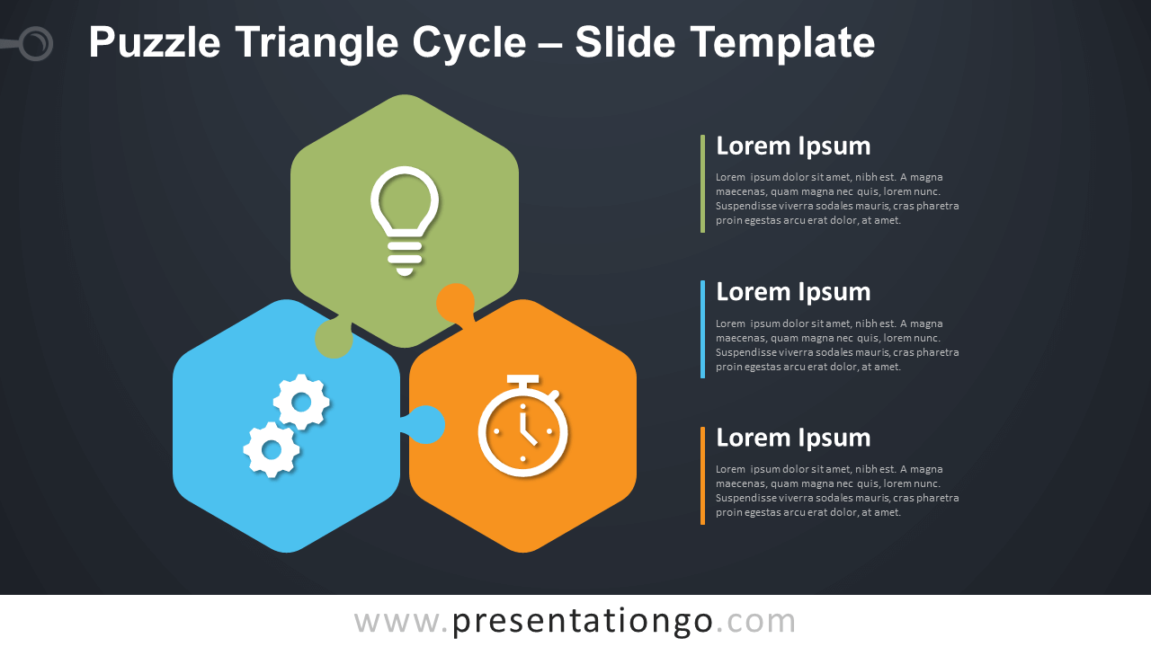 Free Puzzle Triangle Cycle Diagram for PowerPoint and Google Slides