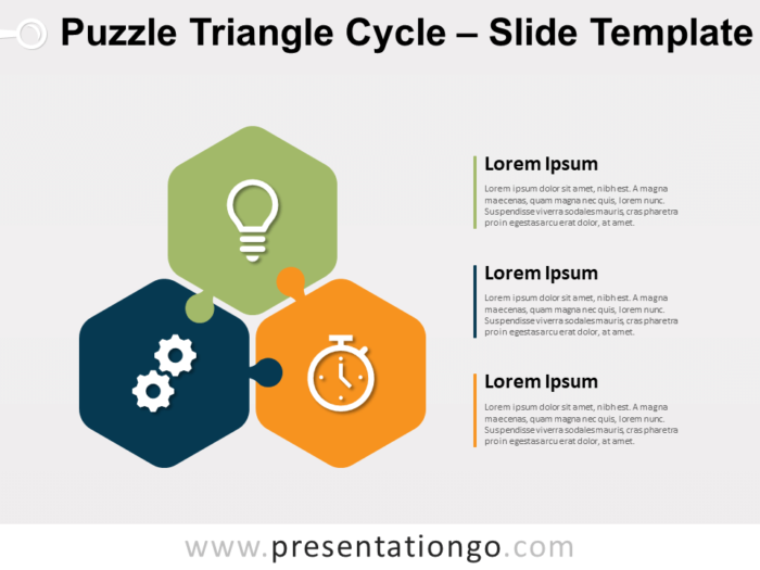 Free Puzzle Triangle Cycle for PowerPoint