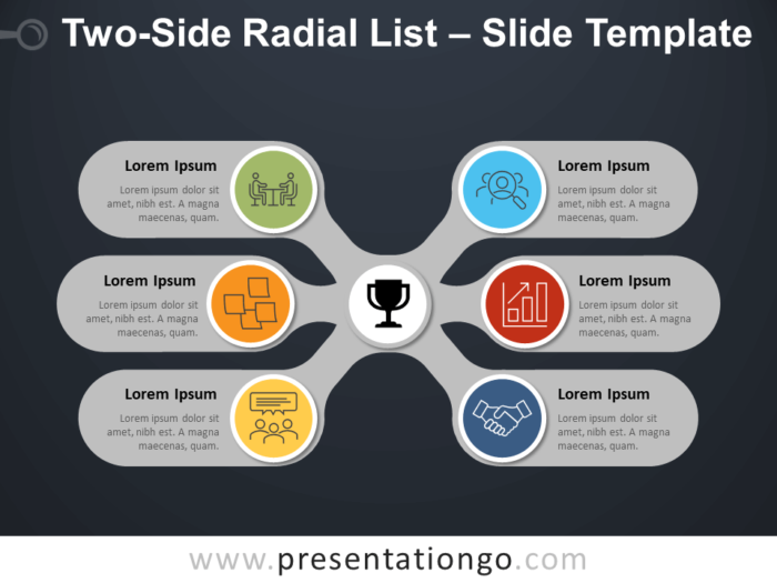 Free Two-Side Radial List Diagram for PowerPoint