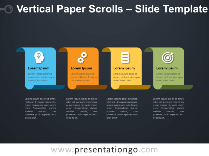 Free Vertical Paper Scrolls Infographics for PowerPoint