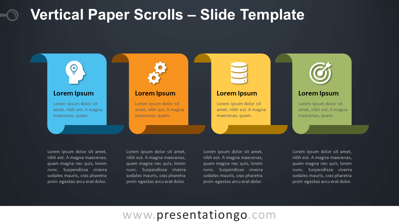 Free Vertical Paper Scrolls Infographics for PowerPoint and Google Slides