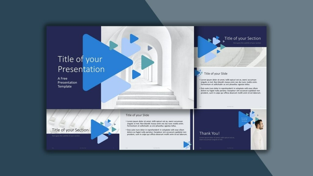 Free Blue Google Slides Theme and PowerPoint Template with Triangles