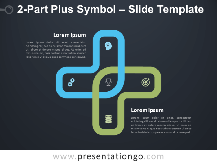 Free 2-Part Plus Symbol Infographic for PowerPoint