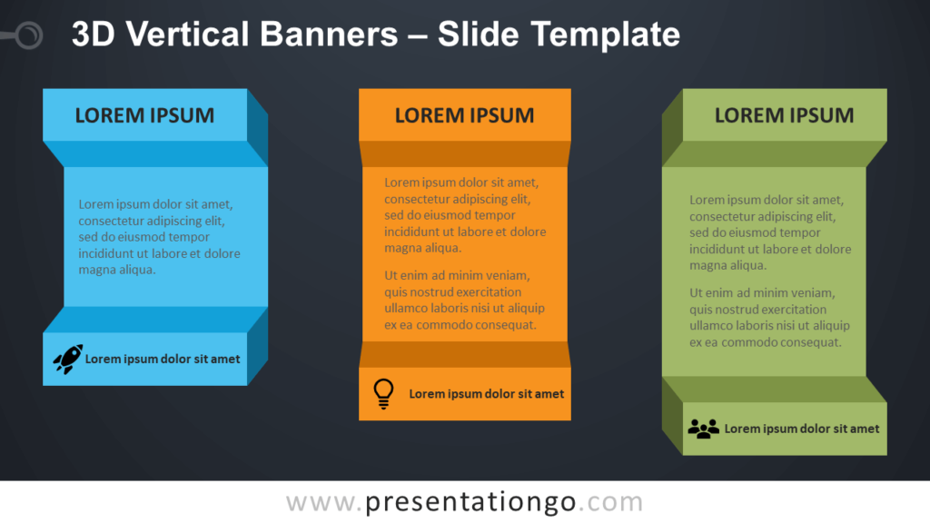 Free 3D Vertical Banners Infographic for PowerPoint and Google Slides