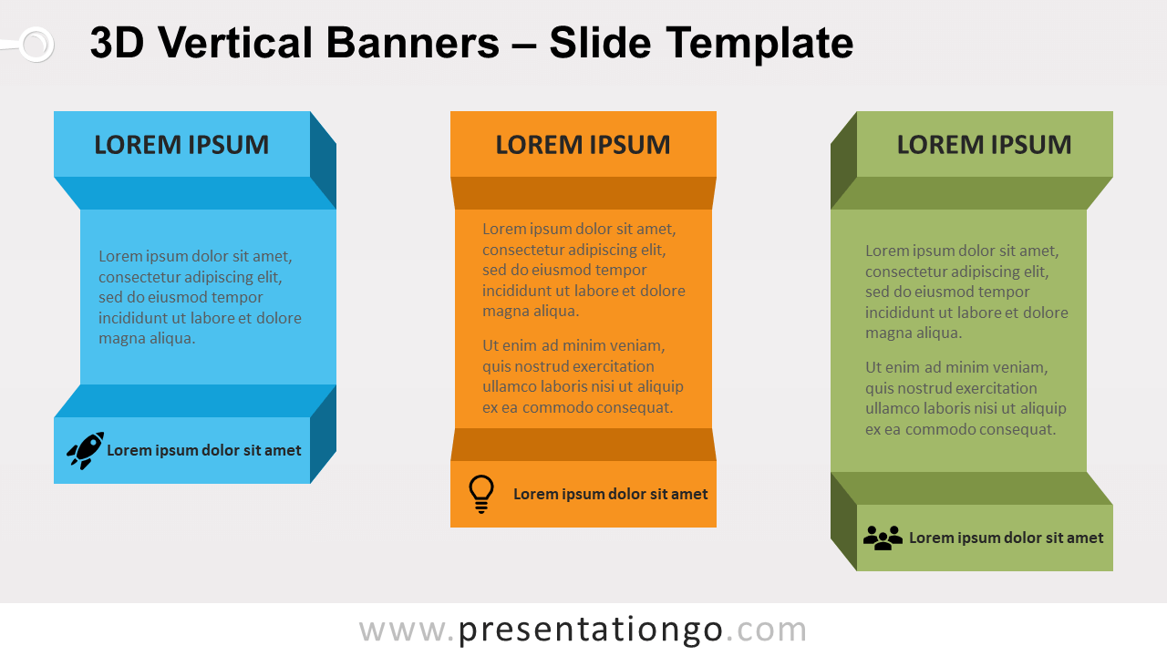 Free 3D Vertical Banners for PowerPoint and Google Slides
