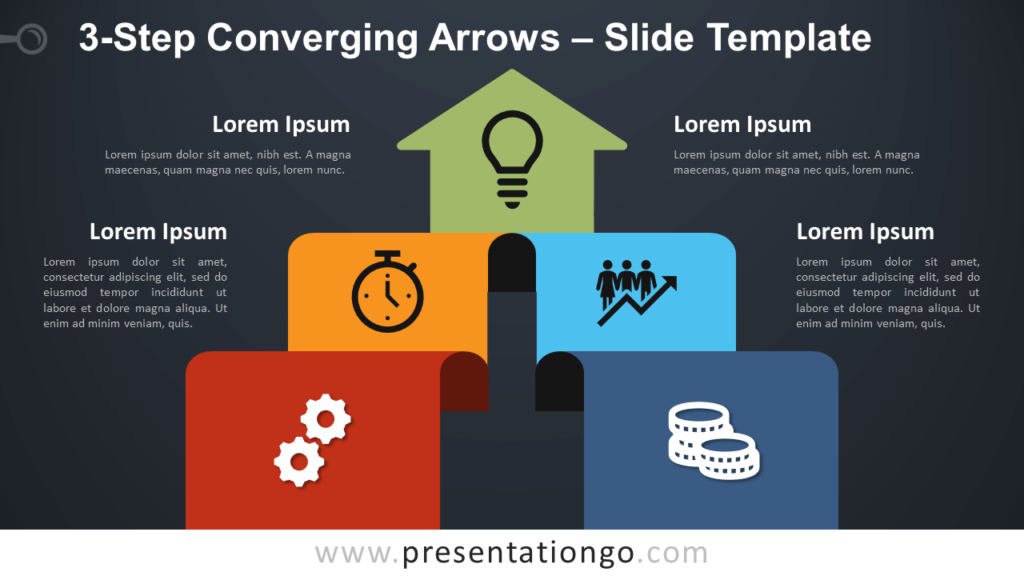 Free 3-Step Converging Arrows Diagram for PowerPoint and Google Slides
