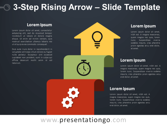 Free 3-Step Rising Arrow Diagram for PowerPoint