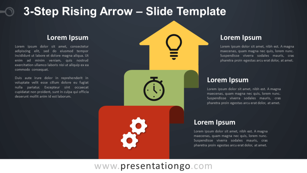 Free 3-Step Rising Arrow Diagram for PowerPoint and Google Slides