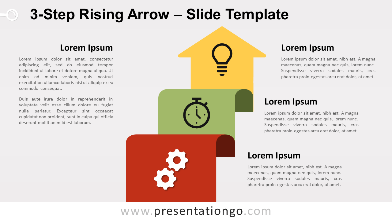 Free 3-Step Rising Arrow for PowerPoint and Google Slides