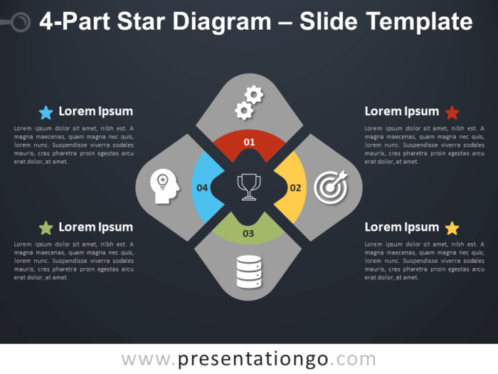 Free 4-Part Star Diagram Infographic for PowerPoint