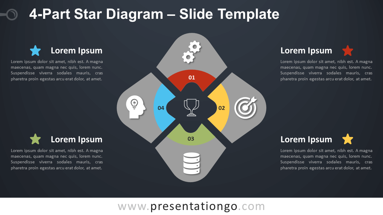 Free 4-Part Star Diagram Infographic for PowerPoint and Google Slides