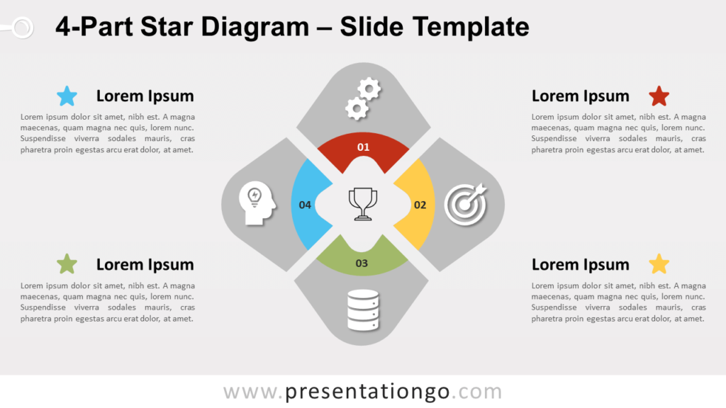 Free 4-Part Star Diagram for PowerPoint and Google Slides