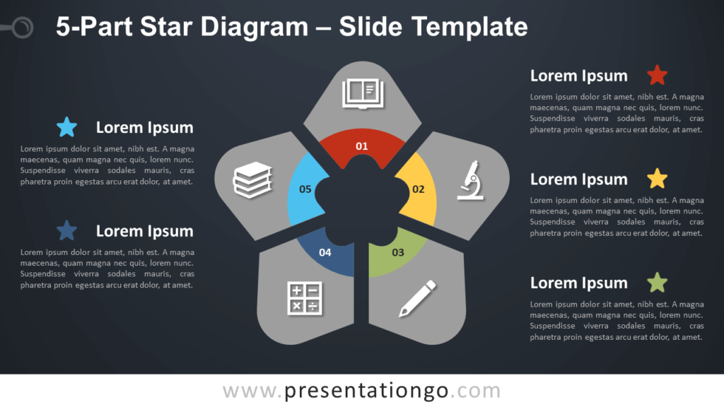 Free 5-Part Star Diagram Infographic for PowerPoint and Google Slides