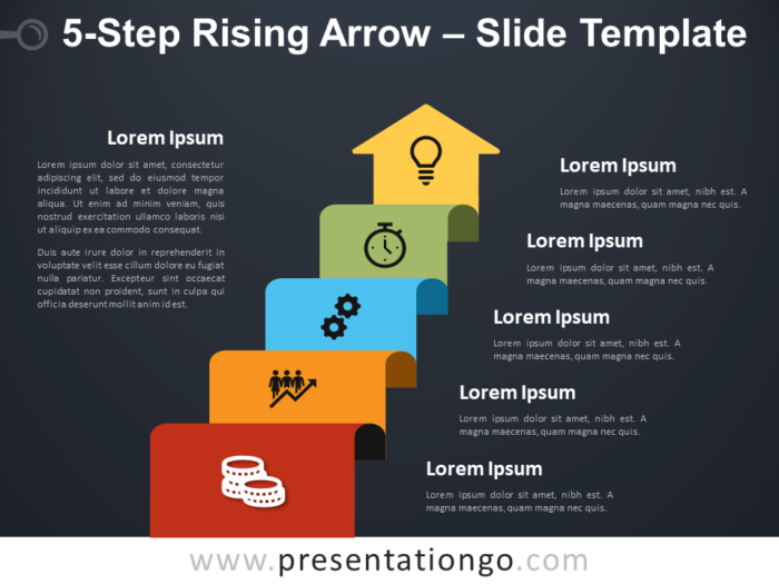 Free 5-Step Rising Arrow Diagram for PowerPoint