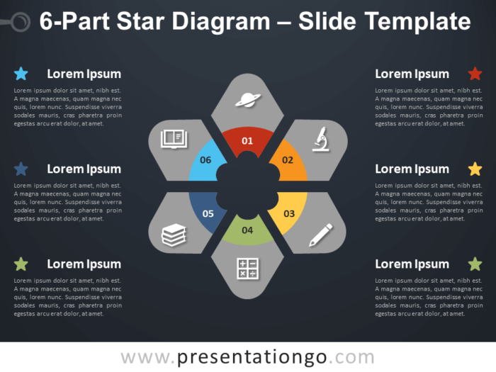 Free 6-Part Star Diagram Infographic for PowerPoint