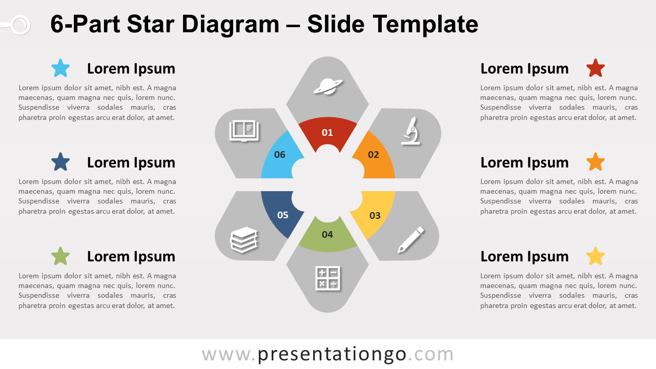 Free 6-Part Star Diagram for PowerPoint and Google Slides
