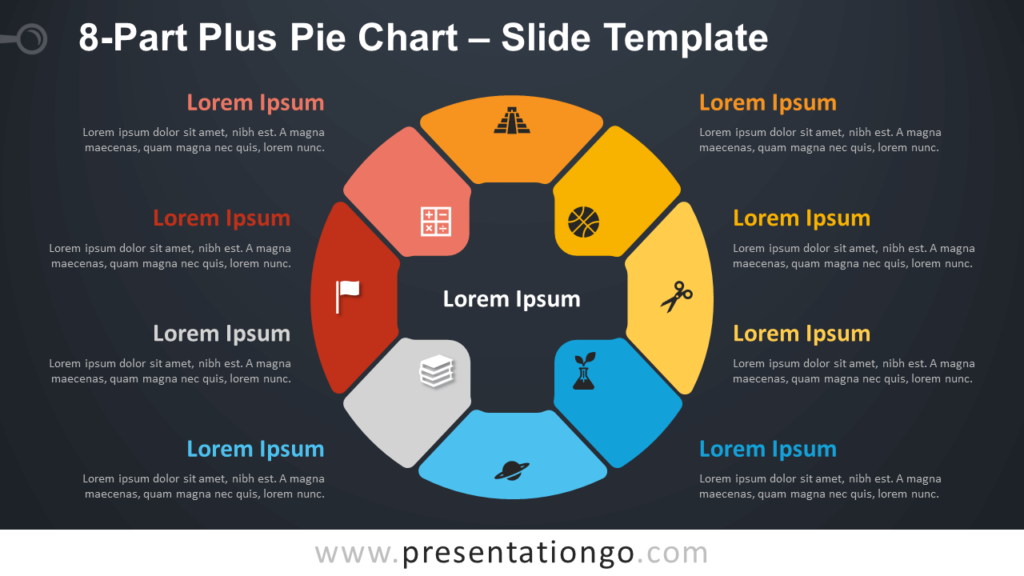 Free 8-Part Plus Pie Chart Diagram for PowerPoint and Google Slides