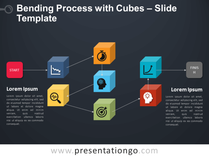 Free Bending Process with Cubes Infographic for PowerPoint