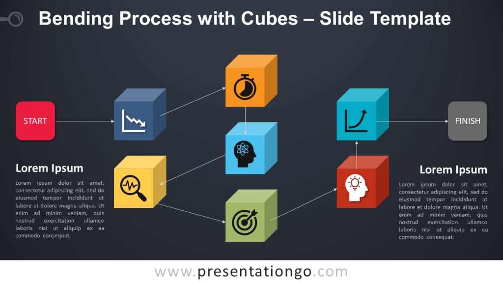 Free Bending Process with Cubes Infographic for PowerPoint and Google Slides