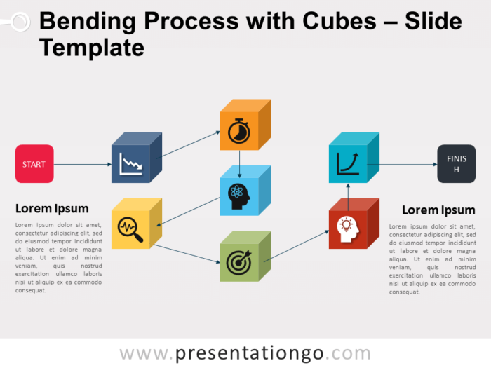 Free Bending Process with Cubes for PowerPoint