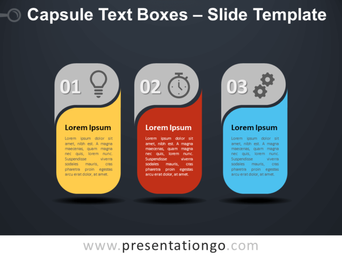 Free Capsule Text Boxes Infographic for PowerPoint