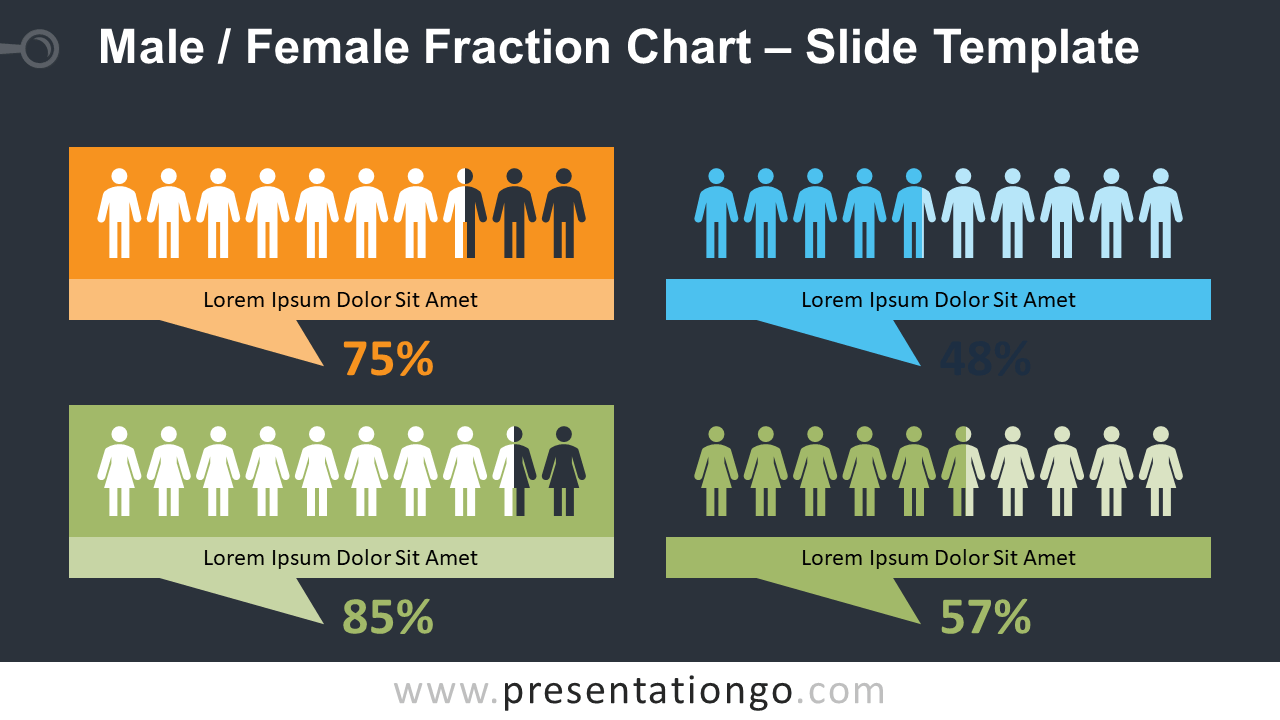 Free Male - Female Fraction Diagram for PowerPoint and Google Slides