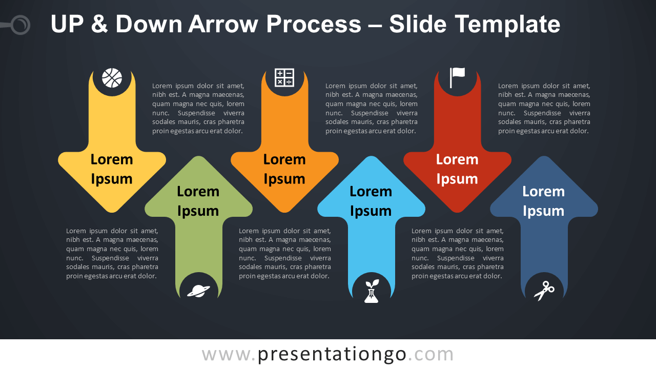 Free Up & Down Arrow Process Infographic for PowerPoint and Google Slides