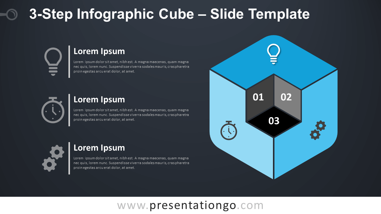 Free 3-Step Infographic Cube Diagram for PowerPoint and Google Slides