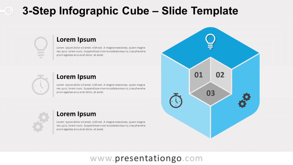 Free 3-Step Infographic Cube for PowerPoint and Google Slides