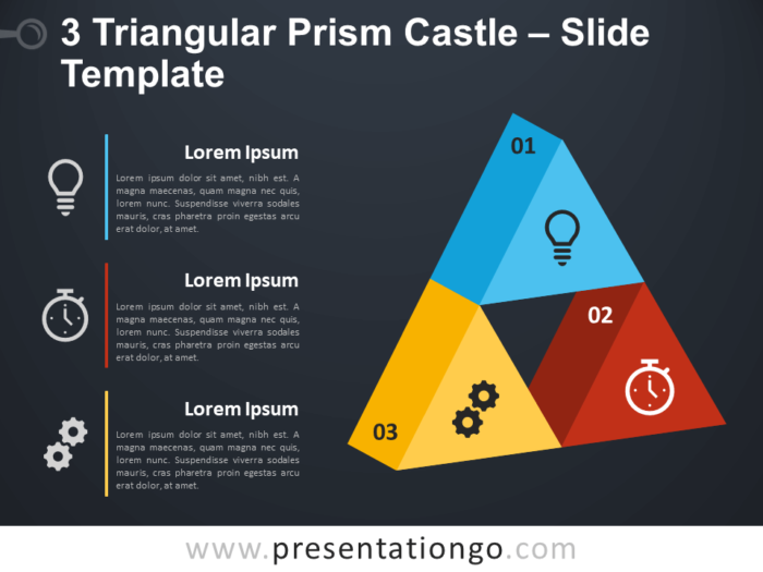 Free 3 Triangular Prism Castle Diagram for PowerPoint