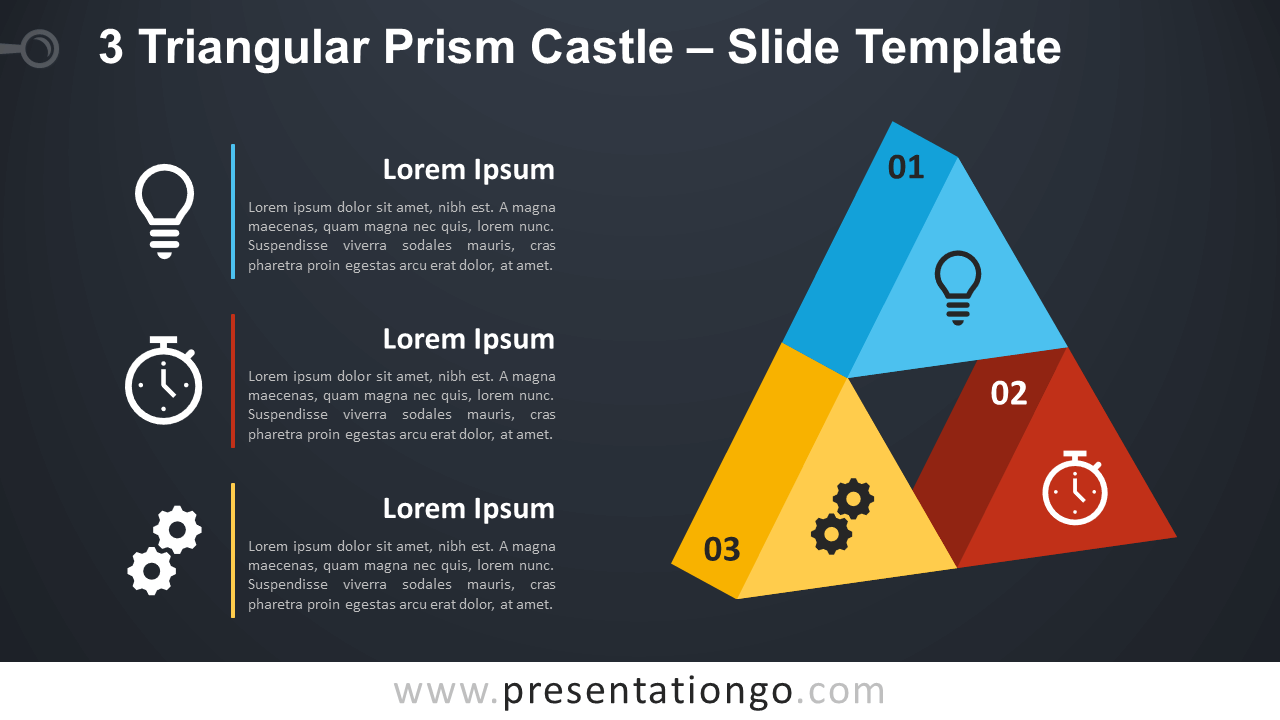 Free 3 Triangular Prism Castle Diagram for PowerPoint and Google Slides
