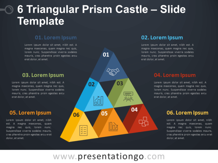 Free 6 Triangular Prism Castle Diagram for PowerPoint