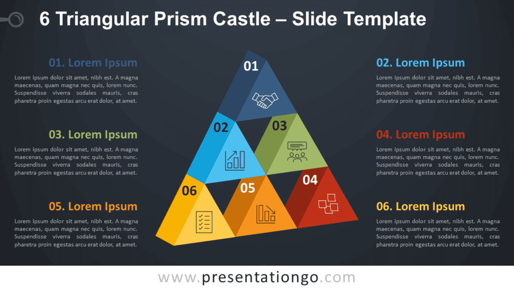 Free 6 Triangular Prism Castle Diagram for PowerPoint and Google Slides