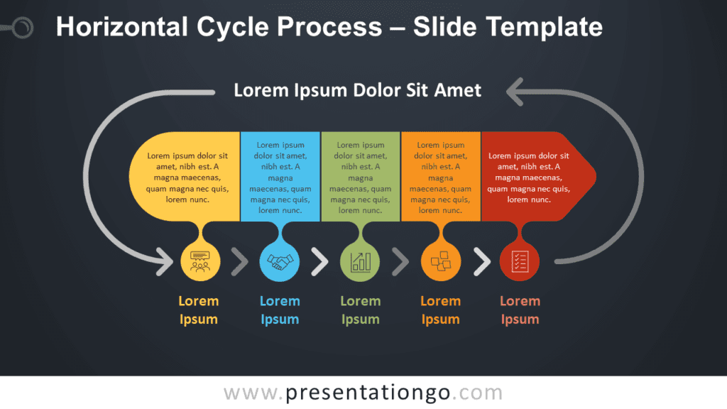 Free Horizontal Cycle Process Infographic for PowerPoint and Google Slides