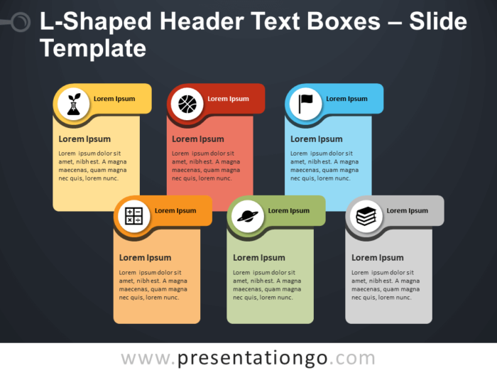 Free L-Shaped Header Text Boxes Infographic for PowerPoint