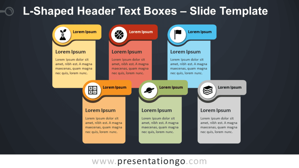 Free L-Shaped Header Text Boxes Infographic for PowerPoint and Google Slides