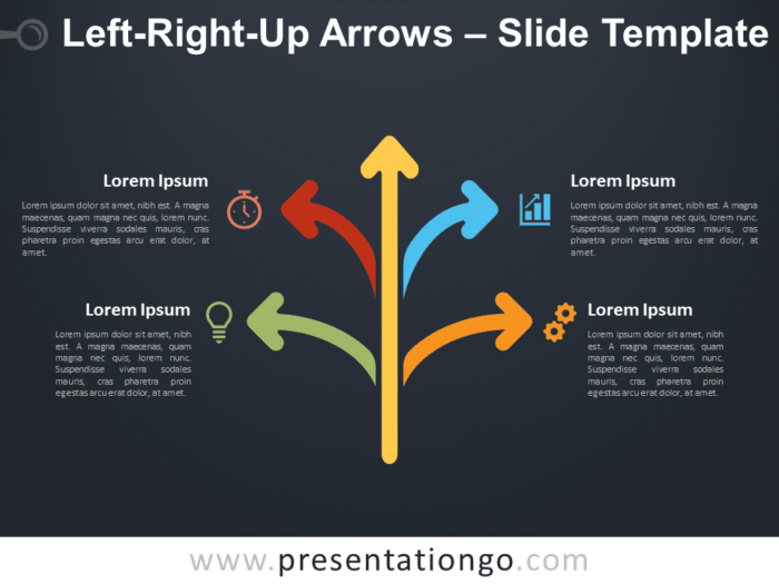 Free Left-Right-Up Arrows Diagram for PowerPoint