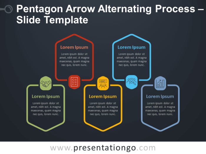 Free Pentagon Arrow Alternating Process Infographic for PowerPoint