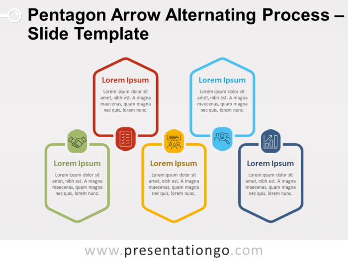 Free Pentagon Arrow Alternating Process for PowerPoint