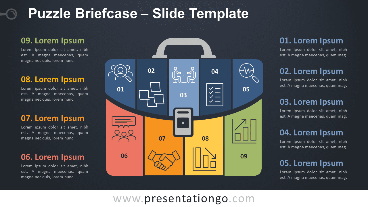 Free Puzzle Briefcase Infographic for PowerPoint and Google Slides