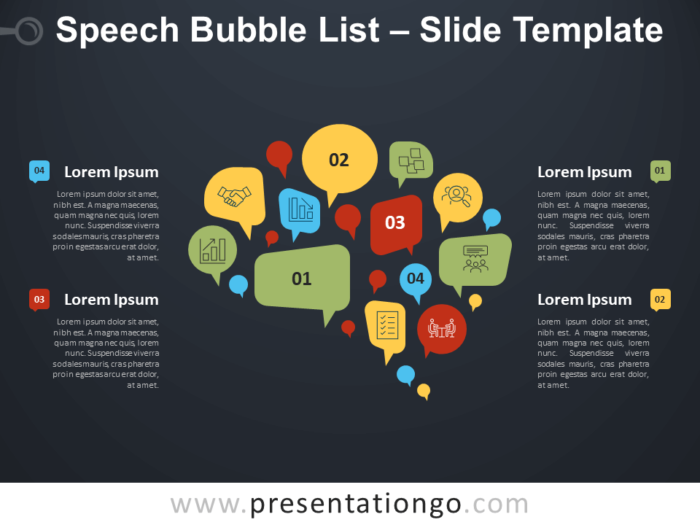 Free Speech Bubble List Infographic for PowerPoint