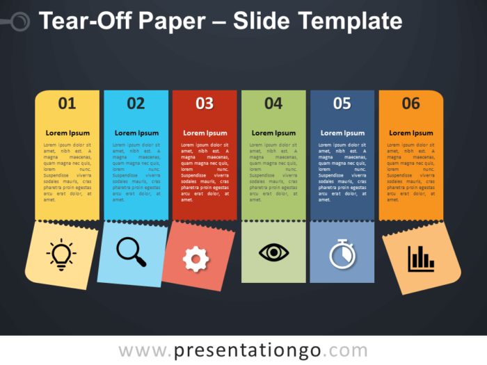 Free Tear-Off Paper Infographic for PowerPoint