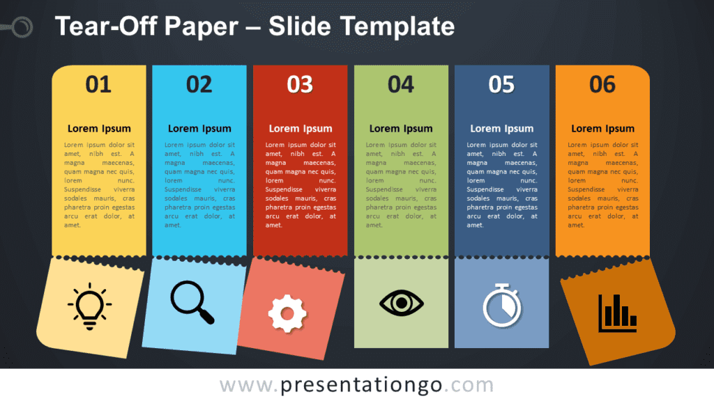 Free Tear-Off Paper Infographic for PowerPoint and Google Slides