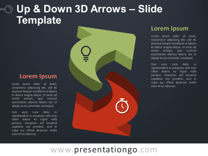 Free Up & Down 3D Arrows Infographic for PowerPoint