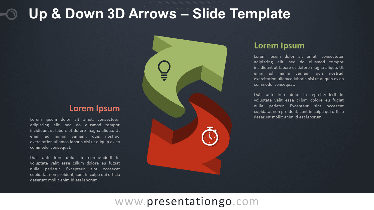 Free Up & Down 3D Arrows Infographic for PowerPoint and Google Slides