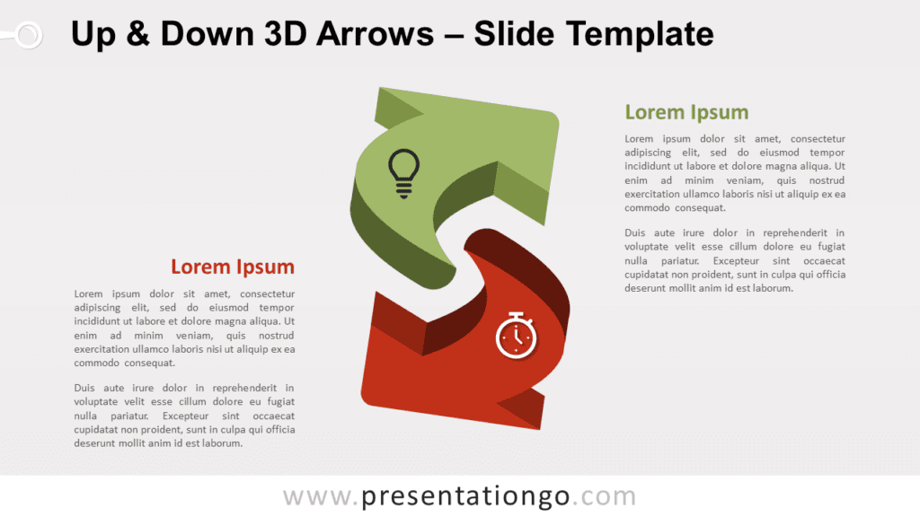 Free Up & Down 3D Arrows for PowerPoint and Google Slides