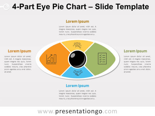 4-Part Eye Pie Chart for PowerPoint