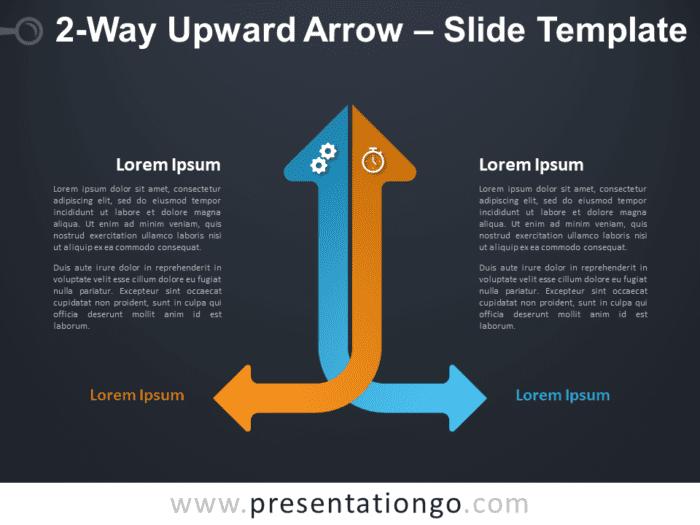 Free 2-Way Upward Arrow Diagram for PowerPoint